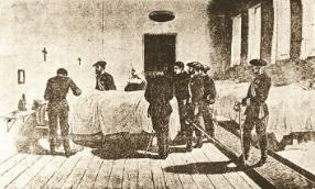 San Benedetto Menni -  Stampa coeva di don Carlos in visita ai feriti dell'Ospedale di Irache, scortato da Menni e da una suora vincenziana.